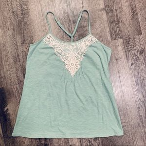 Cotton Boho Tank With Cream Lace Embroidery SZ Med